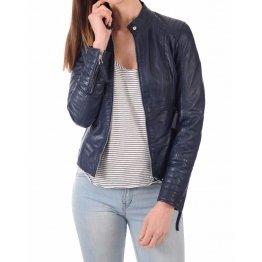 Girls Trendsetter Real Sheepskin Navy Blue Leather Jacket