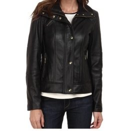 Girls Trendy Fashionable Original Sheepskin Black Leather Jacket