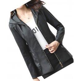 Girls Trendy Hooded Original Lambskin Black Leather Jacket Coat