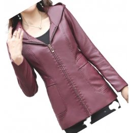 Girls Trendy Hooded Original Lambskin Purple Leather Jacket Coat