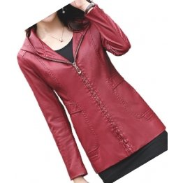 Girls Trendy Hooded Original Lambskin Red Leather Jacket Coat