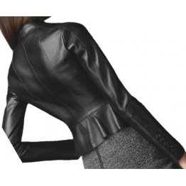 High Collar Peplum Waist Original Lambskin Womens Black Leather Jacket Coat
