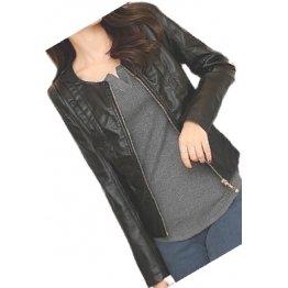 Ladies Collarless Original Goatskin Black Leather Jacket