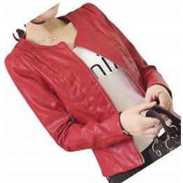 Ladies Collarless Original Goatskin Red Leather Jacket