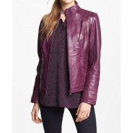 Ladies Cute Fashionable Real Lambskin Purple Leather Jacket