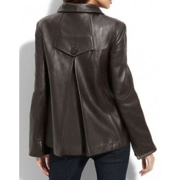 Ladies elegant classic style authentic lambskin dark brown leather jacket