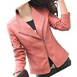 Ladies Elegant Fashion Genuine Goatskin Peach Leather Jacket Coat