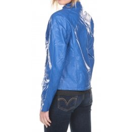 Ladies Fabulous Real Lambskin Blue Leather Jacket