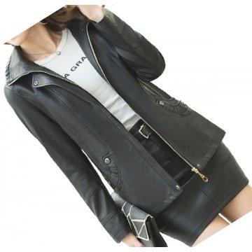 Ladies Hooded Real Sheepskin Black Leather Jacket Coat
