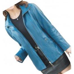 Ladies Hooded Real Sheepskin Blue Leather Jacket Coat