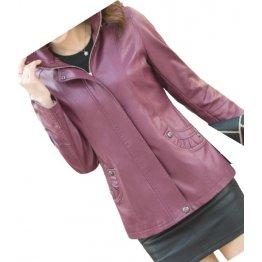 Ladies Hooded Real Sheepskin Purple Leather Jacket Coat