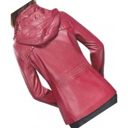 Ladies Hooded Real Sheepskin Red Leather Jacket Coat