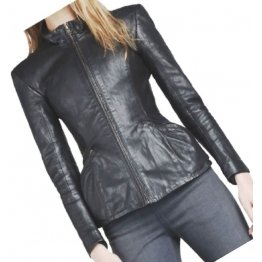 Ladies Sophisticated Design Genuine Sheepskin Navy Blue Leather Jacket