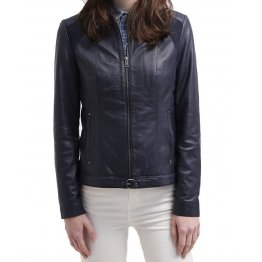 Ladies Sophisticated Original Sheepskin Navy Blue Leather Jacket