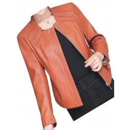 New Trendy Ladies Original Lambskin Brown Leather Jacket