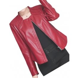 New Trendy Ladies Original Lambskin Red Leather Jacket