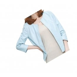 Open Front Short Sleeve Collarless Ladies Real Sheepskin Baby Blue Leather Jacket