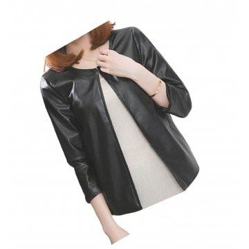 Open Front Short Sleeve Collarless Ladies Real Sheepskin Black Leather Jacket