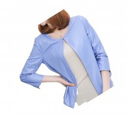 Open Front Short Sleeve Collarless Ladies Real Sheepskin Blue Leather Jacket
