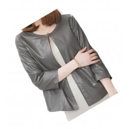 Open Front Short Sleeve Collarless Ladies Real Sheepskin Gray Leather Jacket