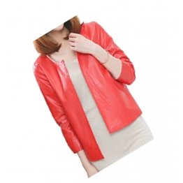 Open Front Short Sleeve Collarless Ladies Real Sheepskin Red Leather Jacket