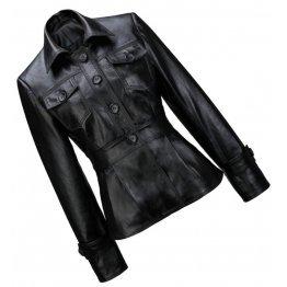 Peplum Waist Womens Real Sheepskin Black Leather Coat Jacket