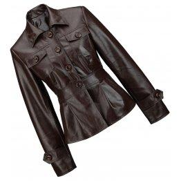 Peplum Waist Womens Real Sheepskin Brown Leather Coat Jacket