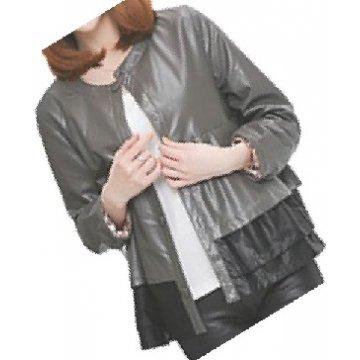 Round Neck Ladies Real Sheepskin Gray Leather Jacket