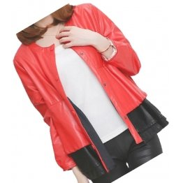 Round Neck Ladies Real Sheepskin Red Leather Jacket