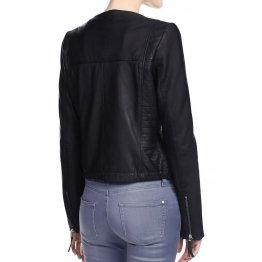Simple Collarless Womens Original Lambskin Black Leather Jacket