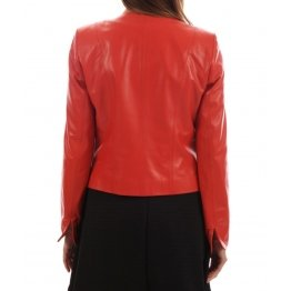 Simple Look Collarless Authentic Lambskin Womens Red Leather Jacket
