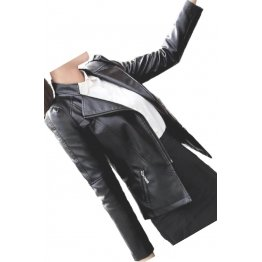 Trendsetting Style Girls Real Sheepskin Black Leather Jacket