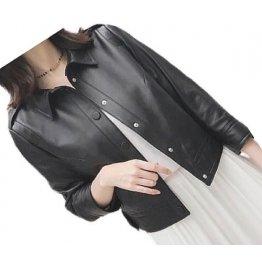 Womens Casual Fashion Genuine Goatskin Black Leather Jacket Coat