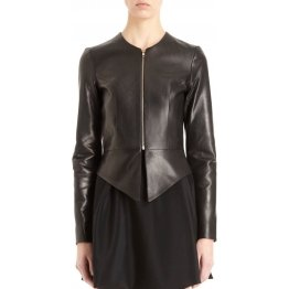 Womens Classic Style Collarless Real Sheepskin Black Leather Jacket