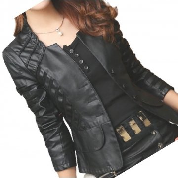 Womens Designer Genuine Lambskin Black Leather Jacket Coat