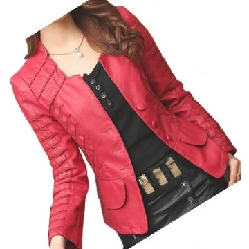 Womens Designer Genuine Lambskin Red Leather Jacket Coat