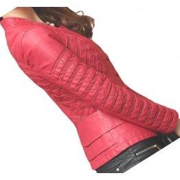 Womens Designer Genuine Lambskin Red Leather Jacket Coat