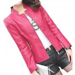 Womens Designer Real Sheepskin Pink Leather Jacket Coat