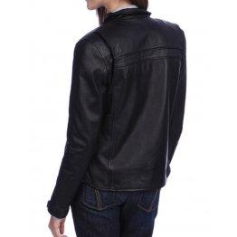 Womens Fabulous Look Real Goatskin Black Leather Jacket