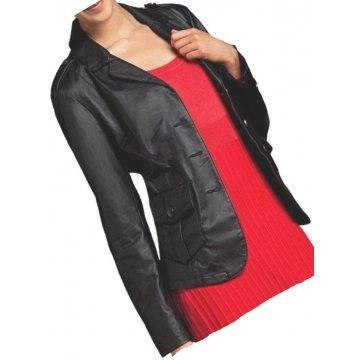 Womens Formal Look Real Sheepskin Black Leather Jacket Coat Blazer