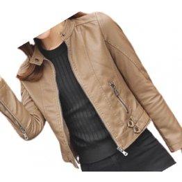 Womens High Fashion Real Sheepskin Beige Leather Jacket Coat