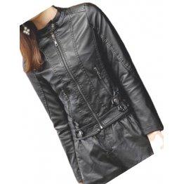 Womens High Fashion Real Sheepskin Black Leather Jacket Coat
