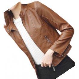 Womens High Fashion Real Sheepskin Brown Leather Jacket Coat