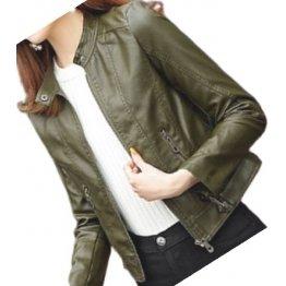 Womens High Fashion Real Sheepskin Olive Green Leather Jacket Coat