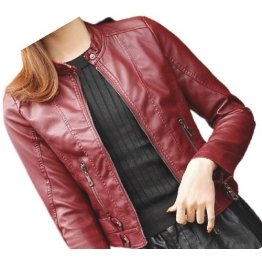 Womens High Fashion Real Sheepskin Red Leather Jacket Coat
