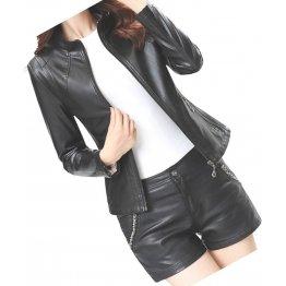Womens New Fashion Real Sheepskin Black Leather Jacket Coat
