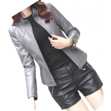 Womens New Fashion Real Sheepskin Gray Leather Jacket Coat