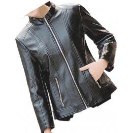 Womens New Fashion Original Lambskin Black Leather Jacket Coat