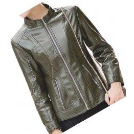 Womens New Fashion Original Lambskin Olive Green Leather Jacket Coat