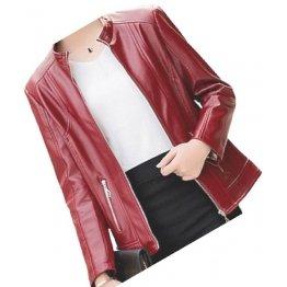 Womens New Fashion Original Lambskin Red Leather Jacket Coat